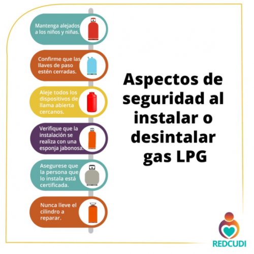 Si usted tiene un centro de cuidado y desarrollo infantil se recomienda tener en cuenta los siguientes aspectos de seguridad al instalar o desinstalar gas LPG.